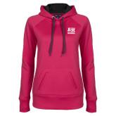 Ladies Pink Raspberry Tech Fleece Hoodie-Primary Mark