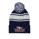 Navy/White Two Tone Knit Pom Beanie with Cuff-Eagle Head w/ Eagles