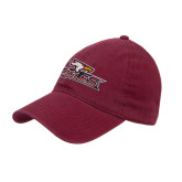 Maroon Twill Unstructured Low Profile Hat-Eagle Head w/ Eagles