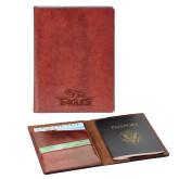 Fabrizio Brown RFID Passport Holder-Eagle Head w/ Eagles Engraved