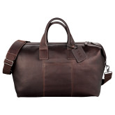 Kenneth Cole Columbian Leather Mahogany Weekender Duffel-TKE Debossed