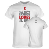 White T Shirt-Tau Kappa Epsilon Loves St Jude