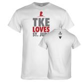 White T Shirt-TKE Loves St Jude
