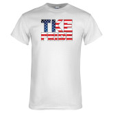 White T Shirt-TKE Pride - USA Flag