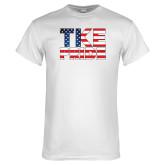 White T Shirt-TKE Pride - USA Flag