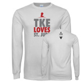 White Long Sleeve T Shirt-TKE Loves St Jude