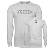 White Long Sleeve T Shirt-St Jude Childrens Research Hospital Flat