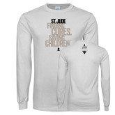 White Long Sleeve T Shirt-St Jude Finding Cures Saving Children