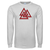 White Long Sleeve T Shirt-Interlocking Triangles