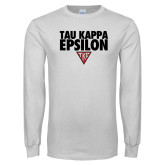 White Long Sleeve T Shirt-Tau Kappa Epsilon Stacked w/ Houseplate