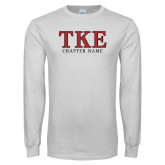 White Long Sleeve T Shirt-TKE Chapter Name