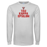 White Long Sleeve T Shirt-Block Text Gradient Design