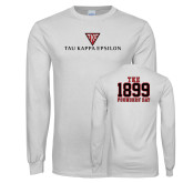 White Long Sleeve T Shirt-House Plate Tau Kappa Epsilon