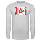 White Long Sleeve T Shirt-TKE Pride - Canada Flag