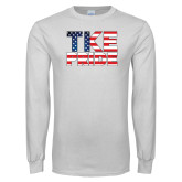 White Long Sleeve T Shirt-TKE Pride - USA Flag