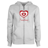 ENZA Ladies White Fleece Full Zip Hoodie-Triple Heart Sweetheart Design