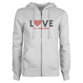 ENZA Ladies White Fleece Full Zip Hoodie-Love Stripes Sweetheart Design