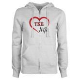 ENZA Ladies White Fleece Full Zip Hoodie-TKE in Heart - TKE Wife