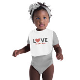 White Baby Bib-Love Stripes Sweetheart Design