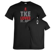 Black T Shirt-TKE Loves St Jude
