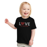 Toddler Black T Shirt-Love Stripes Sweetheart Design