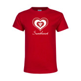 Youth Red T Shirt-Triple Heart Sweetheart Design