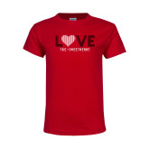 Youth Red T Shirt-Love Stripes Sweetheart Design