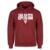 Cardinal Fleece Hoodie-Tau Kappa Epsilon Stacked w/ Houseplate