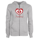 ENZA Ladies Grey Fleece Full Zip Hoodie-Triple Heart Sweetheart Design