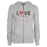 ENZA Ladies Grey Fleece Full Zip Hoodie-Love Stripes Sweetheart Design