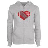 ENZA Ladies Grey Fleece Full Zip Hoodie-Flag in Heart - TKE Wife