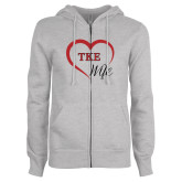 ENZA Ladies Grey Fleece Full Zip Hoodie-TKE in Heart - TKE Wife