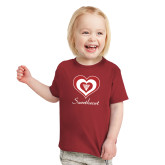 Toddler Cardinal T Shirt-Triple Heart Sweetheart Design