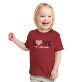 Toddler Cardinal T Shirt-Love Stripes Sweetheart Design