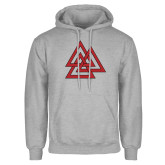 Grey Fleece Hoodie-Interlocking Triangles
