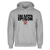 Grey Fleece Hoodie-Tau Kappa Epsilon Stacked w/ Houseplate
