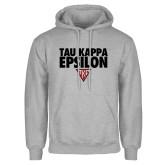 Grey Fleece Hood-Tau Kappa Epsilon Stacked w/ Houseplate