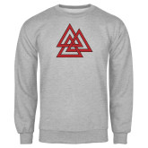Grey Fleece Crew-Interlocking Triangles