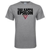 Grey T Shirt-Tau Kappa Epsilon Stacked w/ Houseplate