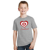 Youth Sport Grey T Shirt-Triple Heart Sweetheart Design