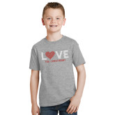 Youth Grey T-Shirt-Love Stripes Sweetheart Design