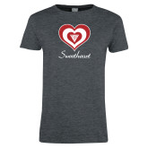 Ladies Dark Heather T Shirt-Triple Heart Sweetheart Design