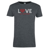 Ladies Dark Heather T Shirt-Love Stripes Sweetheart Design