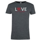 Ladies Dark Heather T Shirt-Love Stripes Sweetheart Design