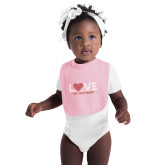 Light Pink Baby Bib-Love Stripes Sweetheart Design