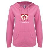ENZA Ladies Hot Pink V-Notch Raw Edge Fleece Hoodie-Triple Heart Sweetheart Design