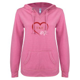 ENZA Ladies Hot Pink V-Notch Raw Edge Fleece Hoodie-TKE in Heart - TKE Wife