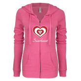 ENZA Ladies Hot Pink Light Weight Fleece Full Zip Hoodie-Triple Heart Sweetheart Design
