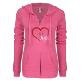 ENZA Ladies Hot Pink Light Weight Fleece Full Zip Hoodie-TKE in Heart - TKE Wife