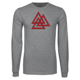 Grey Long Sleeve T Shirt-Interlocking Triangles